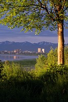 Anchorage Skyline from Pt Woronzof Chugach Mts SC AK