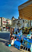 Painting exhibition in the square  Saint Jean de Luz  Aquitaine  France