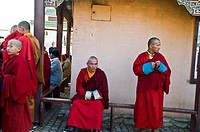 Mongolian buddhist monks gather in the Ganhan Khiid Buddhist temple in Ulan bator