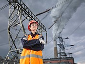 Female Worker At Power Station