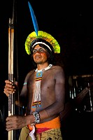 Portrait of a Xingu Indian in the Aamzone, Brazil