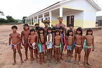 Children of the Xingu Indian go to school built in the village by the ministry of education It is tradition to go in traditional dresscode to school A...