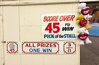 A stall to win cuddly toys at the Pleasure Beach in Great Yarmouth,Norfolk,Uk