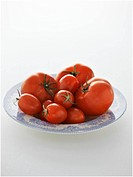 Various types of tomatoes on plate