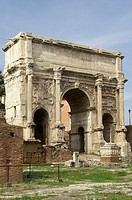 Rome Italy  Settimio Severo Arch in the Roman Forum from the historic city of Rome
