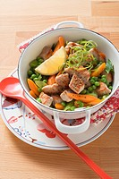 Pork ragout with spring vegetables