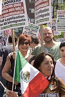 May 1, 2010, Annual peaceful rally for amnesty, equal-rights, legalization, racial-equality, freedom of speech, fair labor, Union Square, Manhattan, N...