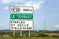 Exit Sortie sign on A16 French Autoroute to Le Touquet France Europe