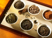 Cocoa powder, coffee beans and various sorts of tea leaves