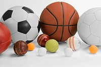 Close_up of assorted sports balls