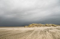 Wind blowing sand , Ynyslas Nature Reserve, Borth, Ceredigion, Wales, UK