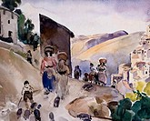 Road to Anticoli by Martha Walter, watercolour, 1935, 1875_1976, USA, Philadelphia, Pennsylvania, David David Gallery