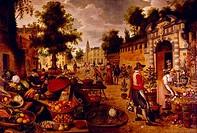 Fruit and Flower Market by Sebastian Vrancx, 1573_1647