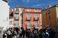 Santa Cruz Neighbourhood inside the Castelo de Sao Jorge. Alfama, Lisbon, Portugal.