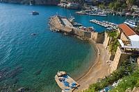 Mermerli Plaji beach and Marina the Roman port Kaleici old town Antalya Mediterranian coast southTurkey Asia
