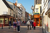 A street busy with shoppers in Bury Saint Edmunds , Suffolk , England , Great Britain , UK
