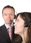 business customer service over a white background _ focus is on the eye of the woman