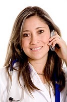 young female Latin American doctor on the phone