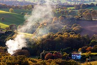 England, Staffordshire, Kinver Edge. Smoke pollutes the countryside near Kinver, viewed from Kinver Edge