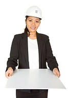 Asian female architect showing her project _ isolated over a white background