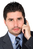 Business man on the phone _ isolated over a white background