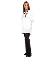 female doctor smiling and standing up isolated over a white background