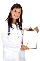 doctor smiling displaying a notepad isolated over a white background