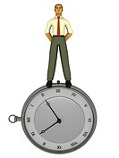A businessman standing on top of a large stopwatch drawn in a 3D style