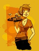 A waitress serving drinks