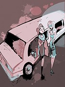 Two women getting out of a limousine (thumbnail)