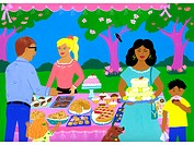 A painting of a bake sale