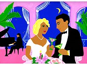 A couple having a romantic dinner with a pianist playing behind them (thumbnail)