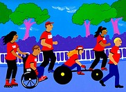 A wheelchair charity race
