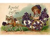 A vintage Easter postcard of a girl riding in a wagon full of violets being pulled by two lamb (thumbnail)
