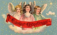 A vintage Easter postcard of three angels holding a banner (thumbnail)