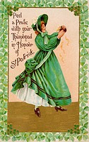 A vintage card of a woman peeling a pratie in honor of St Patrick