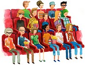 A watercolor illustration of people in a movie theater