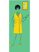 A retro illustration of a female information desk assistant