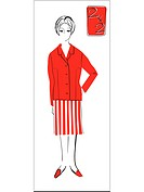 A retro inspired illustration of a female mathematics teacher (thumbnail)