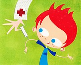 A paper cut illustration of a boy getting immunized