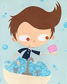 A paper cut illustration of a boy using soap to wash his hands (thumbnail)