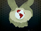 Hands holding an open oyster with a large Earth shaped pearl (thumbnail)