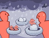 A graphical illustration depicting financial nest eggs and a rainy day