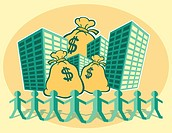 A graphical illustration depicting tall office buildings, large bags of money and small male figures banding together