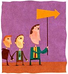 Two young businessmen following a businessman with an arrow (thumbnail)
