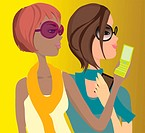 Two women text messaging on their cell phones (thumbnail)