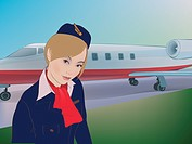 A flight attendant in front of an airplane