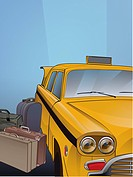 A taxi cab and luggage