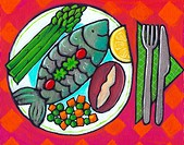 A plate of fish and vegetables