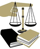 A montage illustration of a hand pointing, books and the Scales of Justice